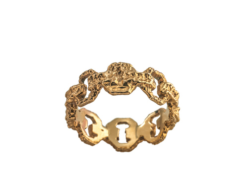 Vintage 14kt Yellow Gold Chain Link Ring — Multipearl