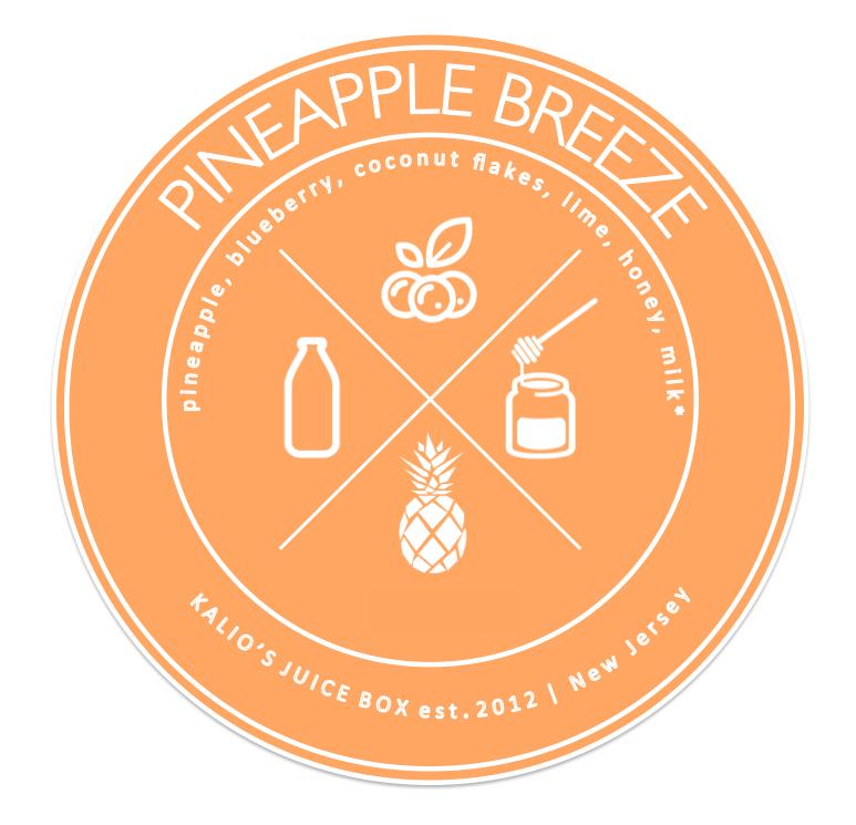 pineapple breeze blueberry coconut lime honey smoothie Juice Kalio Kali Box