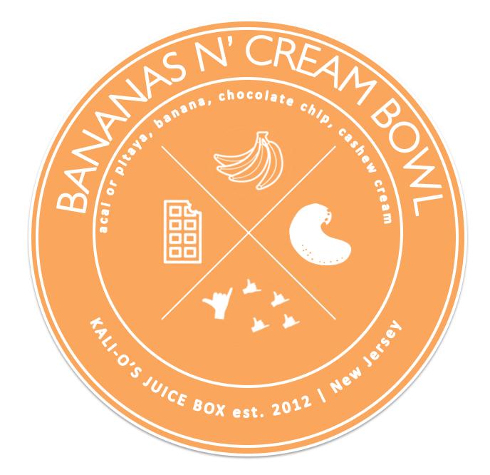 Banana Cashew Cream Bowl Acai Pitaya Kali Kalios Juice Box