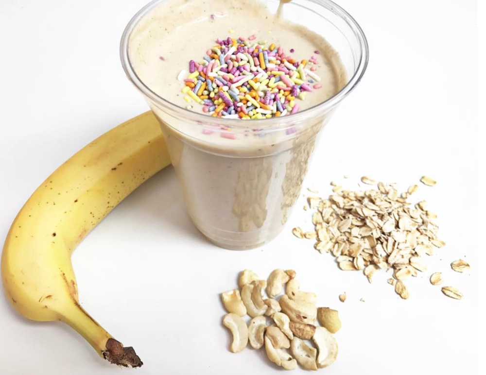 cake batter sprinkle vegan banana cashew oat smoothie Juice Kalio Kali Box