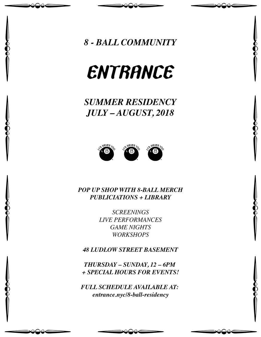 8-Ball Community Residency - July – August, 2018Add to: Google Calendar iCal