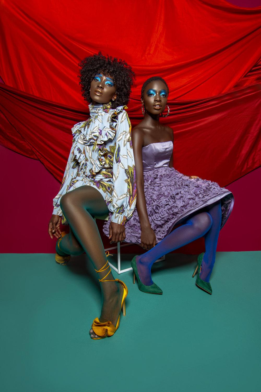 MODELS @anyekuos_ @khadijashari  Farah Almesbah (@farahalmesbah)  Shoes: Fashion Nova  Right: Dress: Donatella Fabio (@donatellafabiocouture)  Shoes: Steve Madden