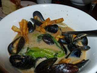 Mussels in a Thai miso broth with bok choy and wonton crunchy things. Fabulous.