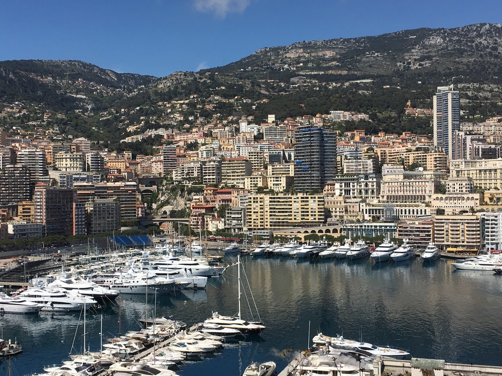 View of the very modern principality of Monaco. Yes, yachts are everywhere.