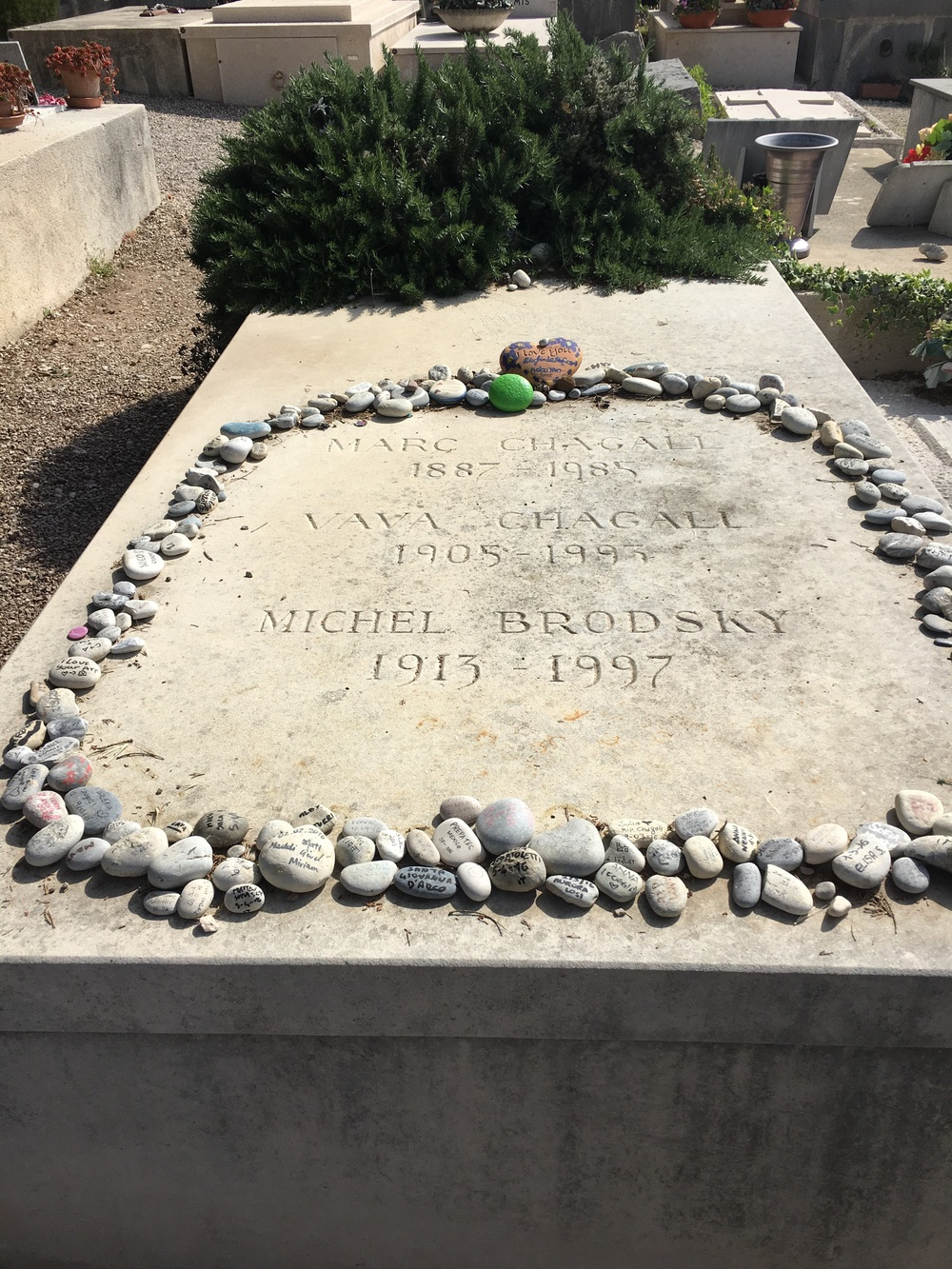 People leave stones with inscriptions on the grave, a Jewish tradition