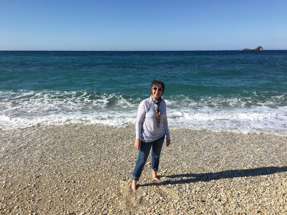Dipping my toes in the Mediterranean. It was cold!