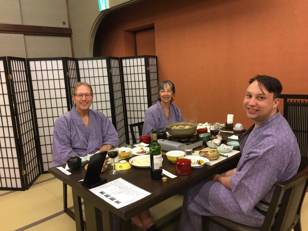75% of the family at the family dinner (we'll be catching up with the other 25% in Kyoto)