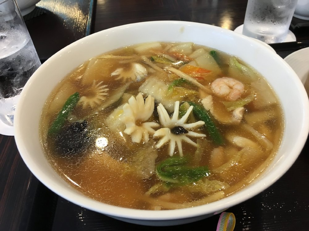 """mixed noodle soup"" - udon with veggies, shrimp, chicken and that lovely flower thing is squid"