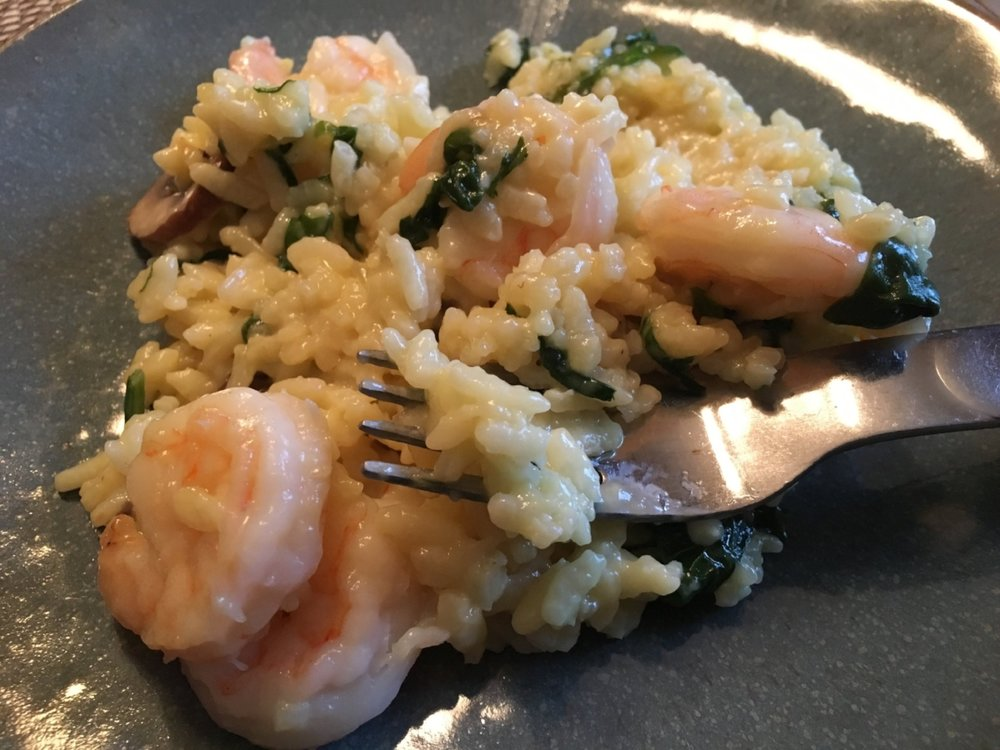 Shrimp, mushroom and spinach risotto