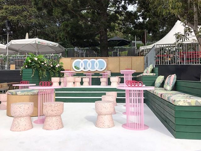 Whipped up these delightful tables & CNC cut rings for @audiaustralia 's VIP lounge at @stgeorgeopenair (now on!) Everything (& we mean EVERYTHING) about these tables was fully customised, even down to the pink powdercoat🤙  Get yourself down to Mrs Macquarie's Point before 16 Feb for some of Sydney's finest viewing (and no, we're not just talking about our tables, ha!)