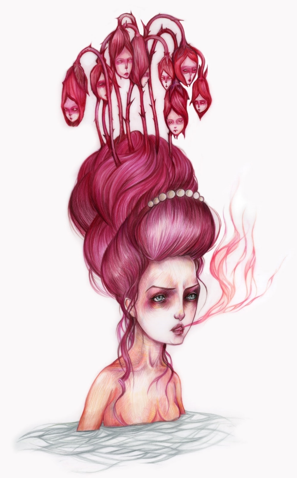 Lady Pink  — colored pencil on mylar