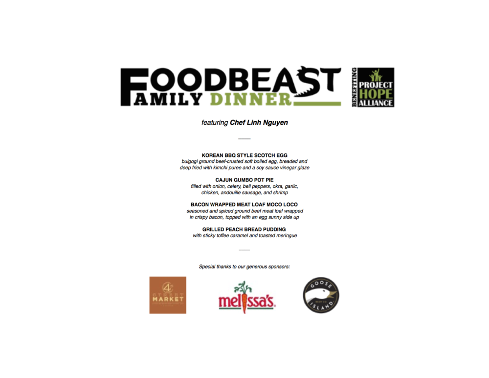 Foodbeast Family Dinner Vol. 1 Menu  (Courtesy Foodbeast)