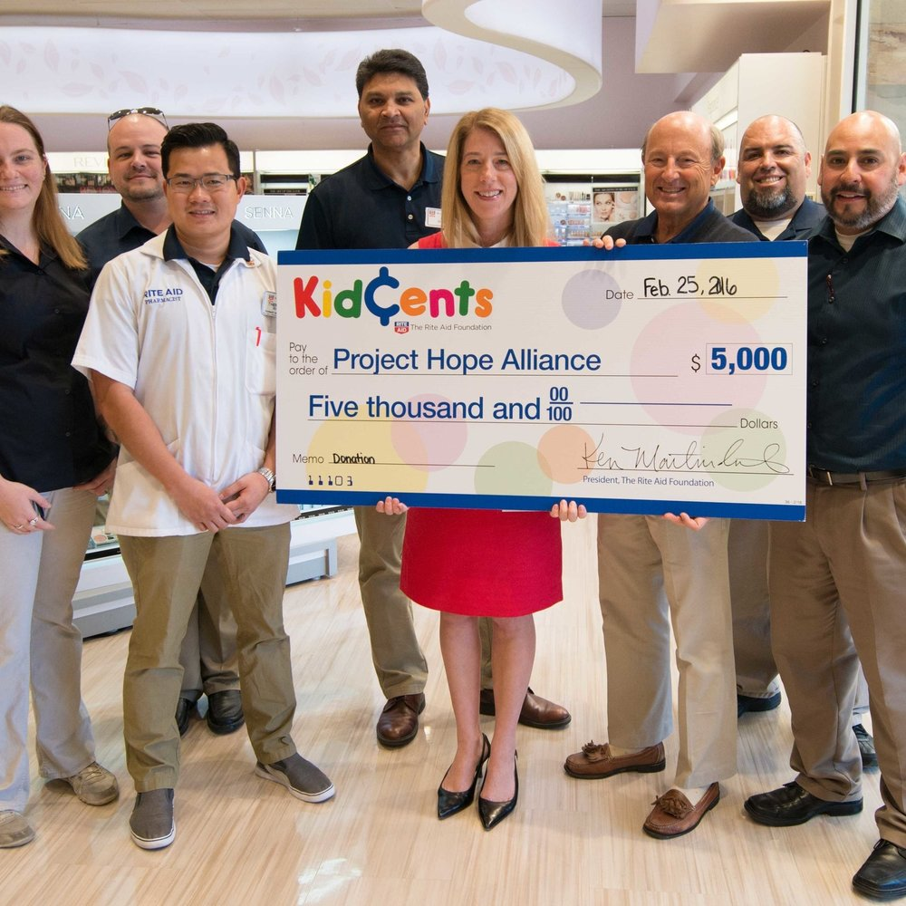 PROJECT HOPE ALLIANCE AWARDED $5,000 KIDCENTS DONATION FROM RITE AID FOUNDATION (MARCH 2016)