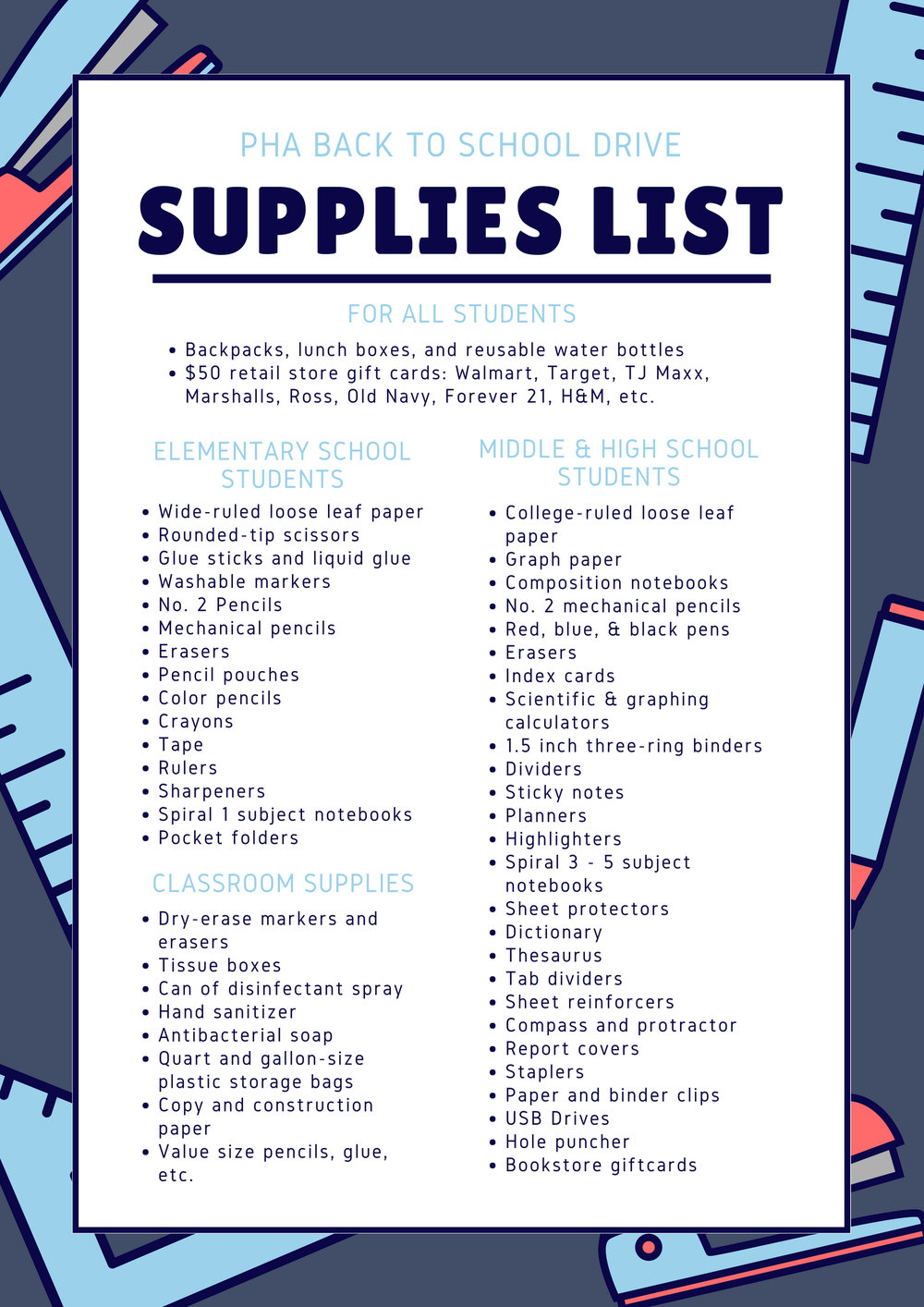 Back to School Drive Supplies List
