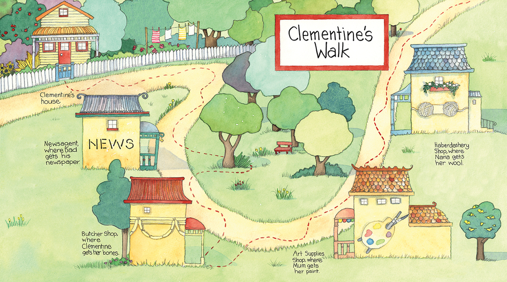 Endpapers from Clementine's Walk