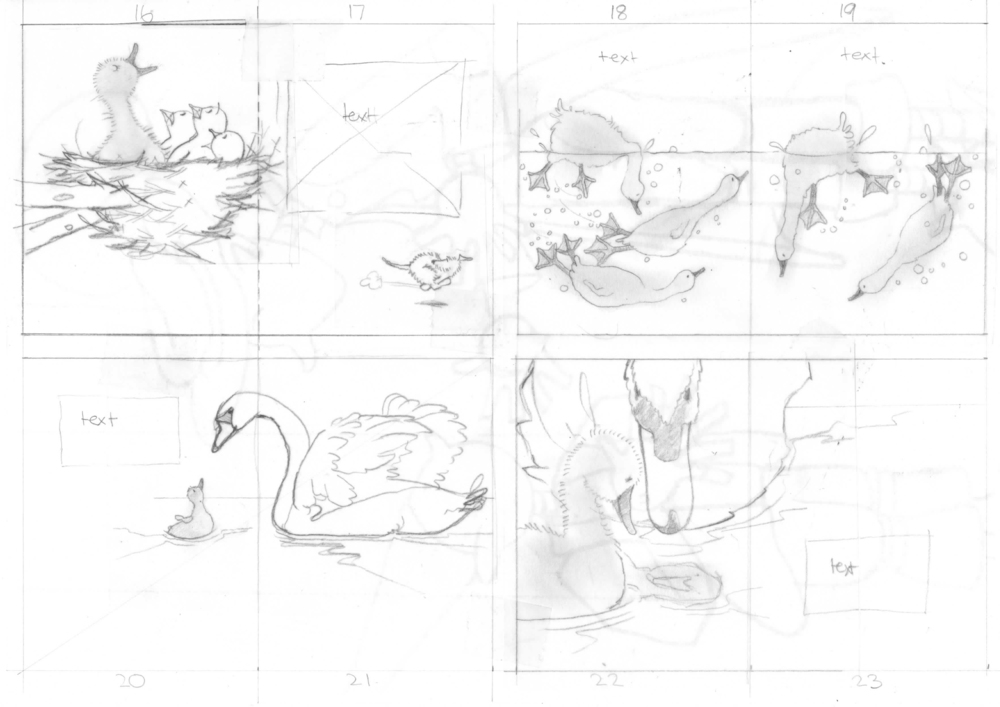 Part of the storyboard for The Ugly Duckling