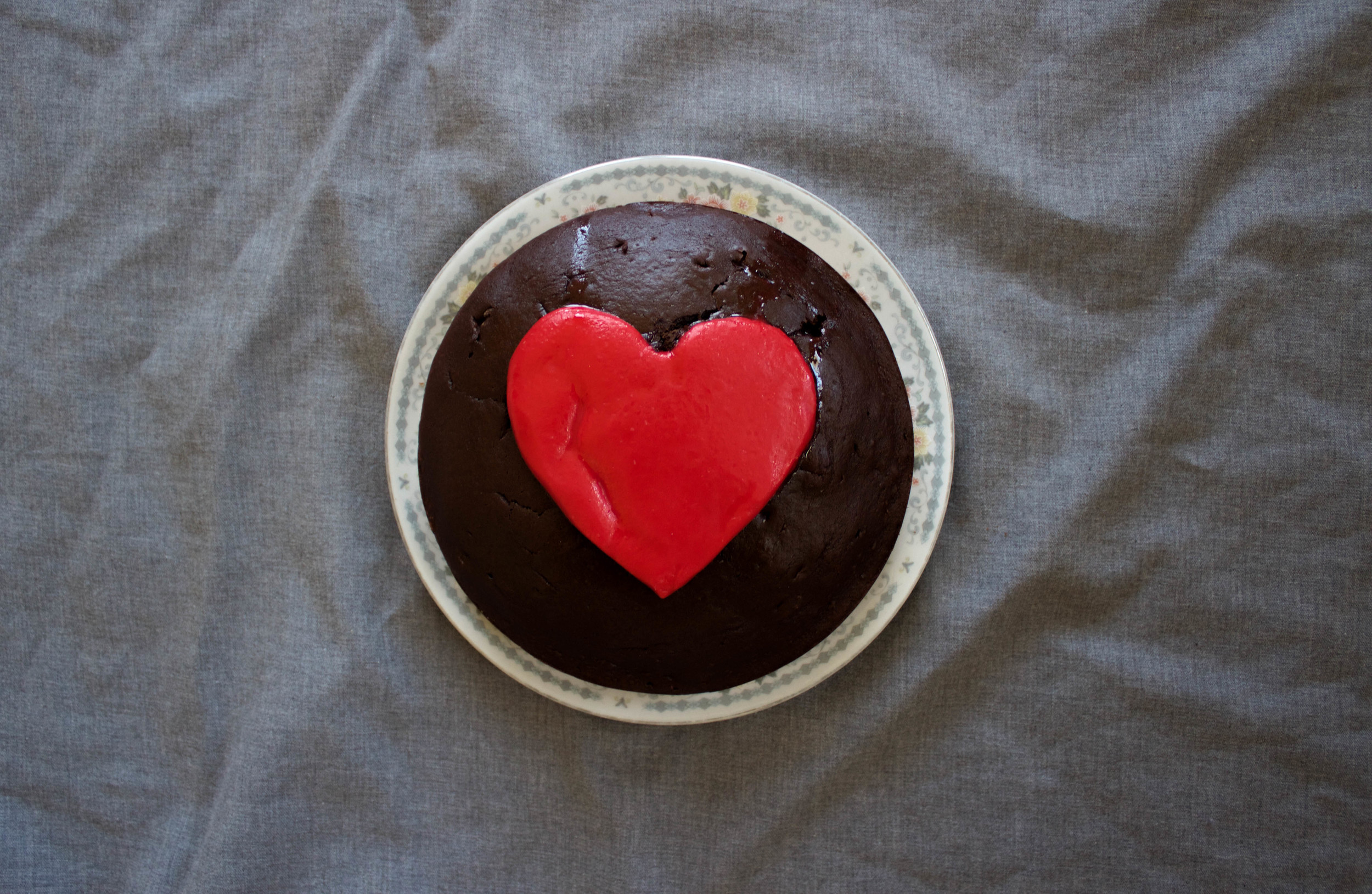 Chocolate Cake with a Marzipan Heart