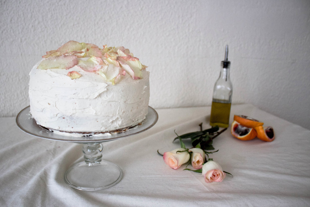 blood orange and rose cake
