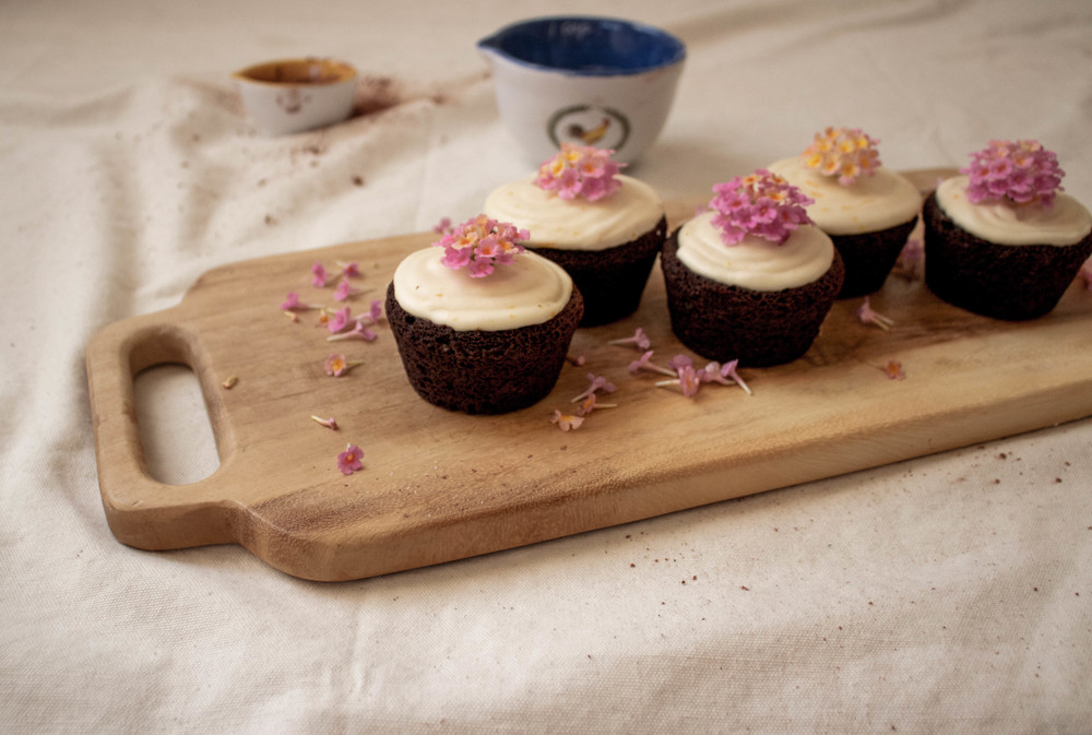 Chocolate Cupcakes with Orange Blossom Icing
