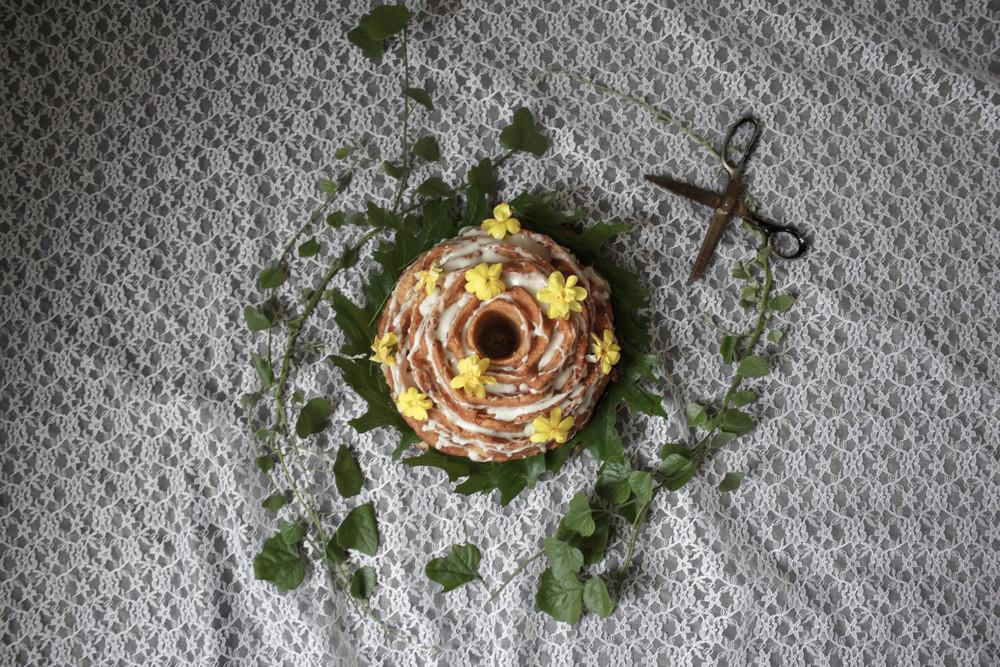 Vanilla Bundt Cake with Rose-Lemon Glaze