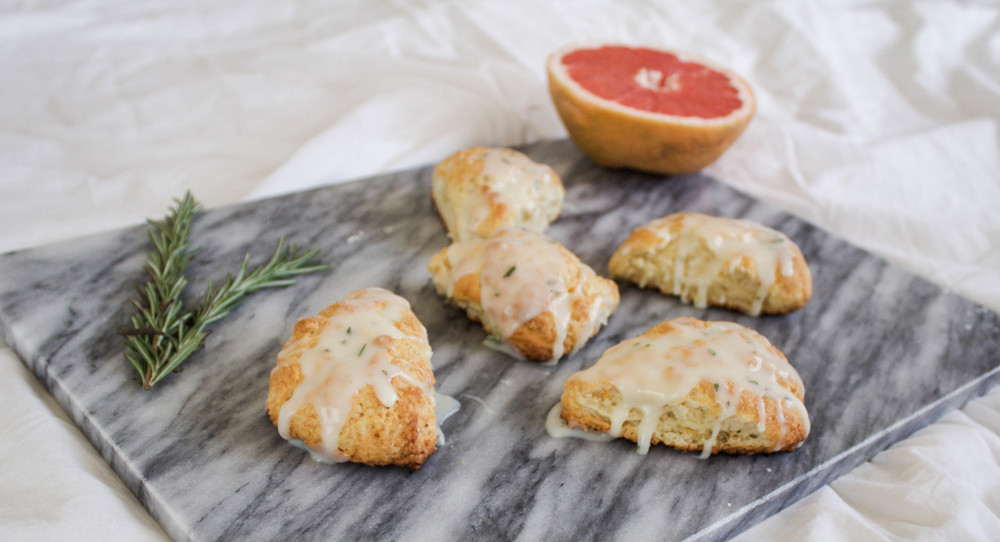 Grapefruit Scones with White Chocolate Rosemary Ganache