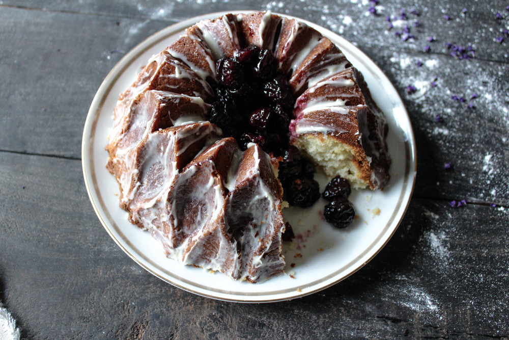 Vanilla Bundt with Roasted Cherries and Goat Cheese Icing