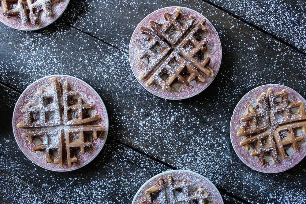 Cornmeal Ricotta Strawberry Waffles
