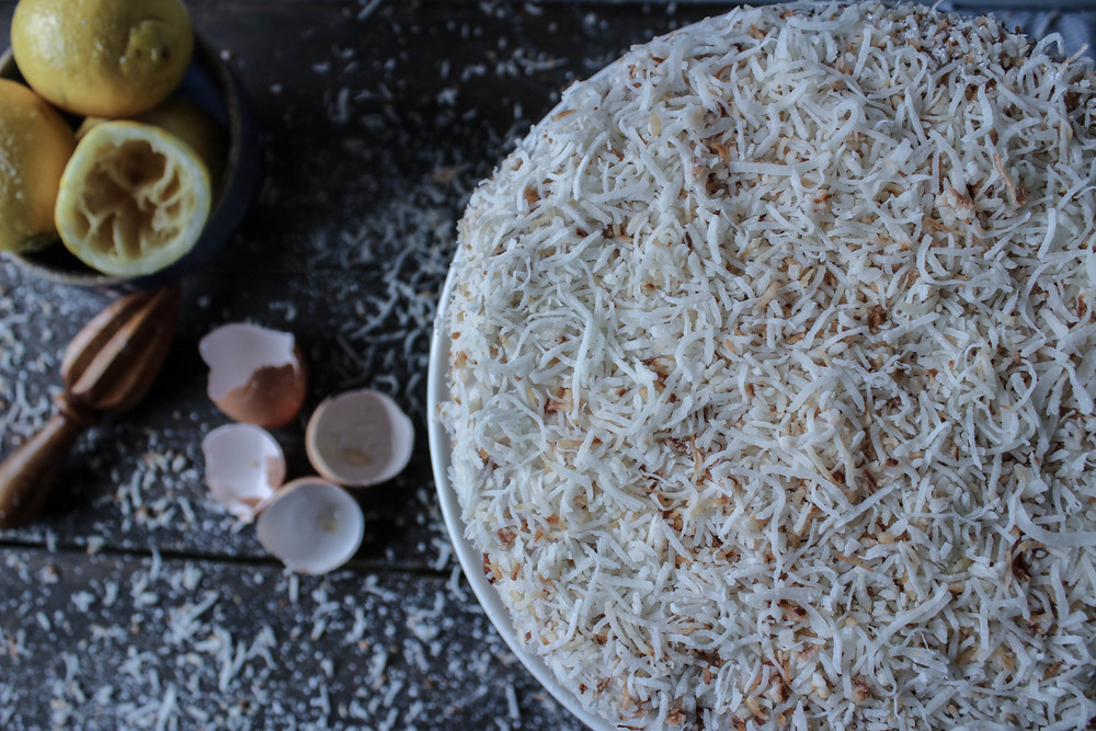 Lemon-Almond Cake with Toasted Coconut