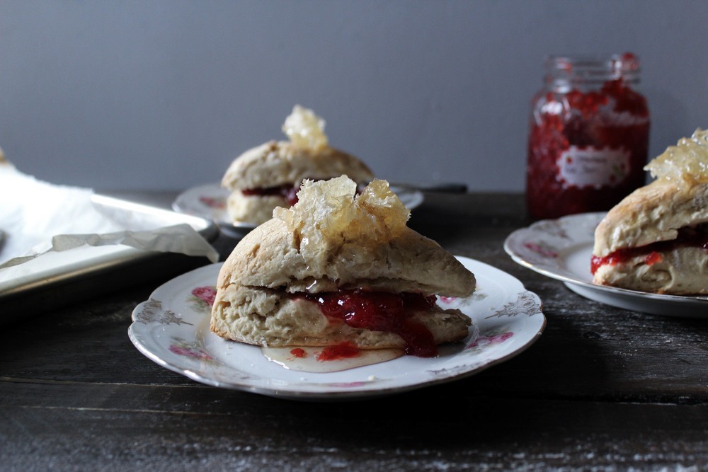 Buttermilk Honey Scones with Rose-Strawberry Jam
