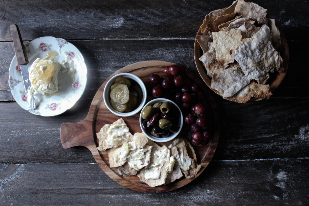 Goat Cheese Platter with Homemade Flatbread Crackers