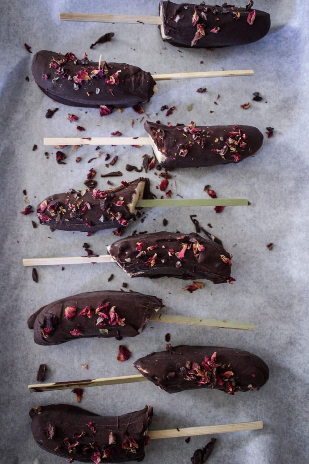 Rose and Cocoa Nib Frozen Bananas