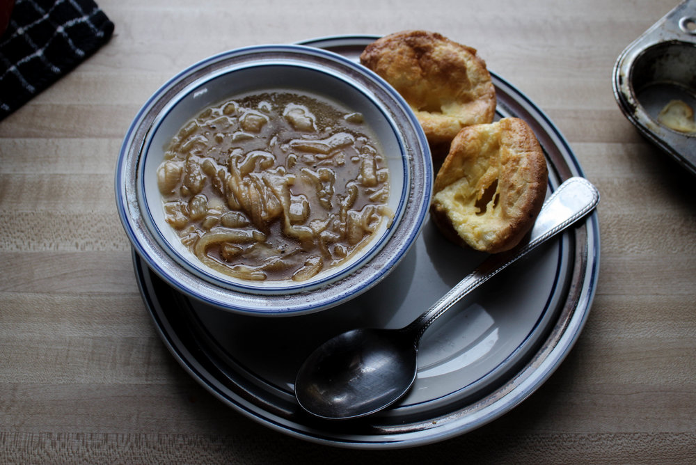 French Onion Soup and Yorkshire Pudding