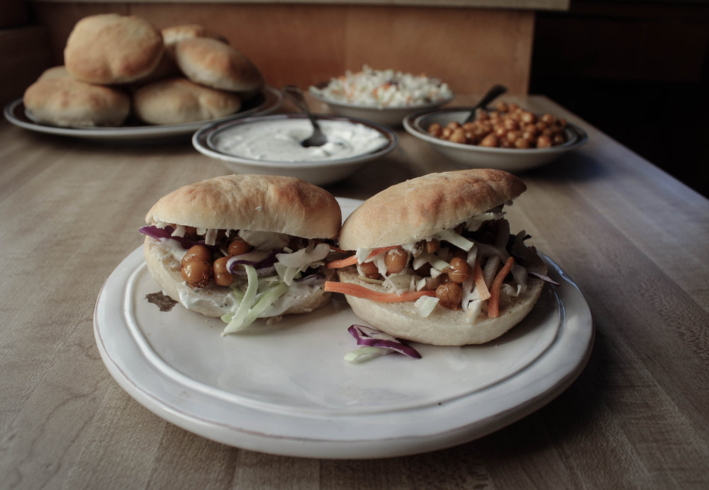 Molly Yeh Yogurt Pita and Chickpea Sandwich