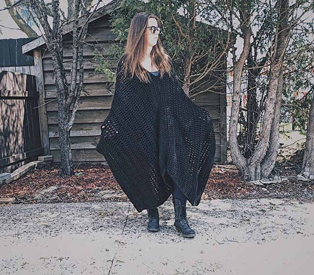 The Blanket Poncho. First ever ADULT poncho. Loosely followed a pattern just to obtain how to shape it.  #poncho #crochetponcho #handmadeponcho #blackonblack #crochet #crochetofinstagram #crochetoutfit #crochetoutterwear #outside #handmade #handmadeisbetter #madebyhand #maker #makersgonnamake #madeincanada #oldlady #youngoldlady #secretpocket #loopsandthreadsyarn #potd #brunette #25 #2018