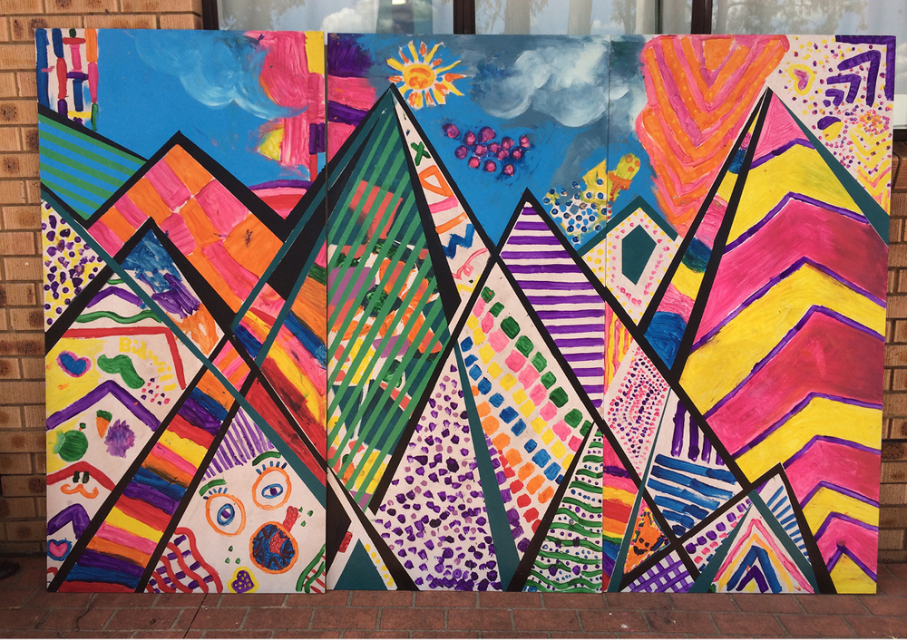 Image #1 Bidwill Festival Mural as completed by children as part of Bidwill Workshops 2014.