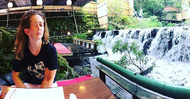 Today we ate lunch on a waterfall. I tried to take a panaroma but Lyn's face is turbo which may be because of sake or because of unidentifiable food items. #delicious #isthatoffal #lifeisgoooood #holidayssssss