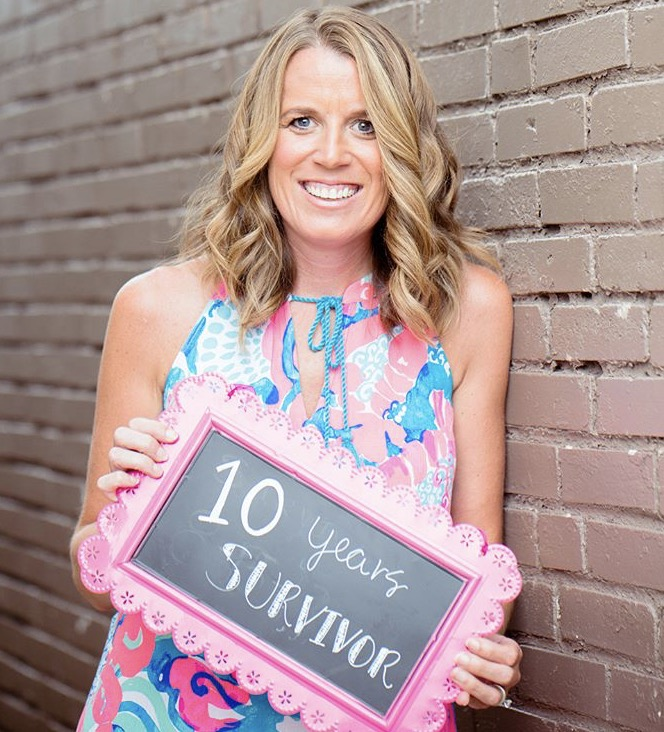 "Celebrating 10 years as a breast cancer survivor, Bridget is a ""Portrait of Hope"" spokeswoman for the American Cancer Society."
