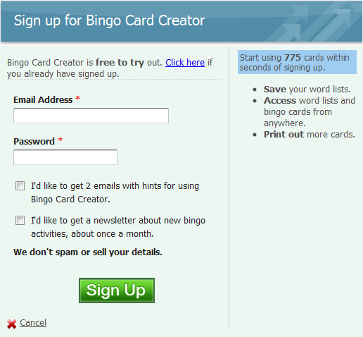 Figure 3: Screenshot of the original Bingo Card Creator sign-up form.