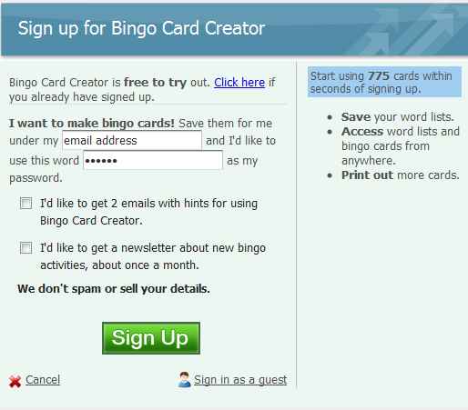 Figure 4: Screenshot of the mad libs version of the Bingo Card Creator sign-up form.