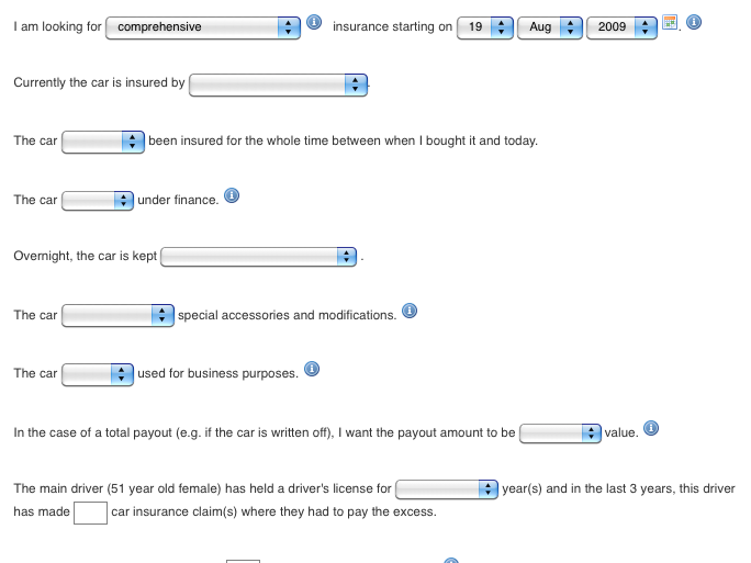 Figure 6: Partial screenshot of the car insurance form using the mad libs approach.