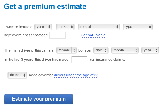 Figure 9: The first screen of the live car insurance quoting form, using a mad libs approach.