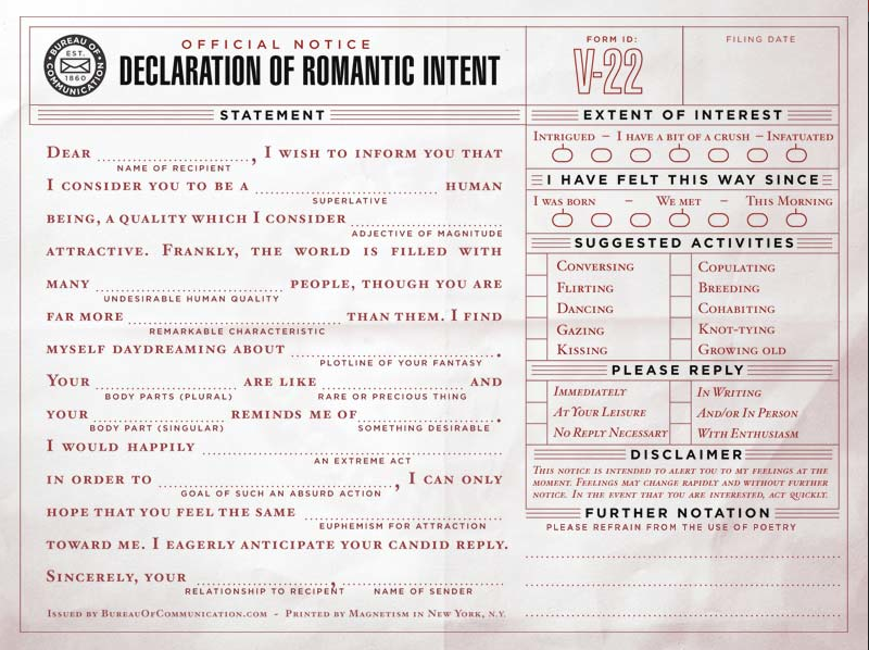 Figure 10: One of the fun Bureau of Communication mad libs forms.