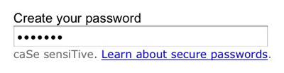 "Figure 3: Ebay password masking. The word ""Testing"" has been typed, but seven bullets are shown instead."