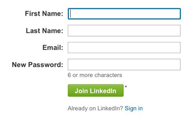 Figure 4: The sign-up form for LinkedIn doesn't use double entry for password or email address.