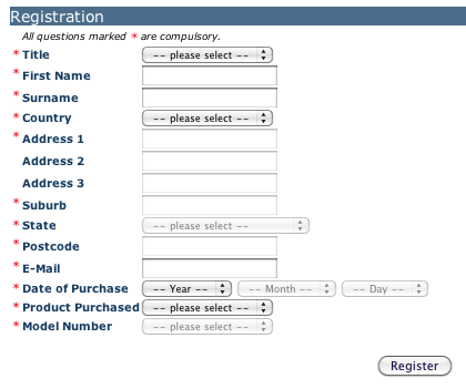 Figure 2: A mandatory title field is an all-too-common example of a question for which organisations probably pay too high a price. In this case, the user is registering a new appliance and so their motivation to complete the form is low. It's likely that many customers give up at the start, as soon as they see that they are required to choose a title. The organisation needs to seriously examine whether having title on every entry in the customer database is worth losing a number of registrations.
