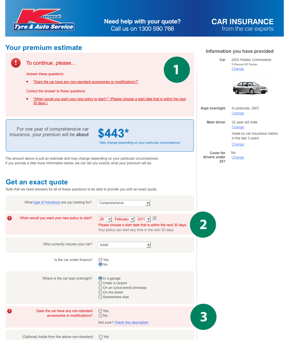 Figure 1: Screenshot of a web-based car insurance quoting form.