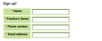 Figure 4: The green shading on this form communicates nothing to the user and thus creates visual noise.