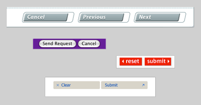 Figure 1: A selection of buttons from a variety of web forms. Within each form, the buttons are all styled the same way.