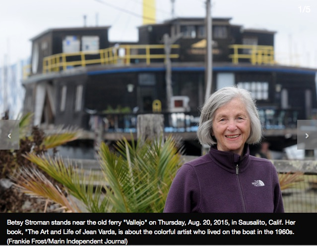 Stroman in front of the now very much cleaned up  S.S. Vallejo , the converted ferryboat where Jean Varda lived in Sausalito  Courtesy Marin Independent Journal