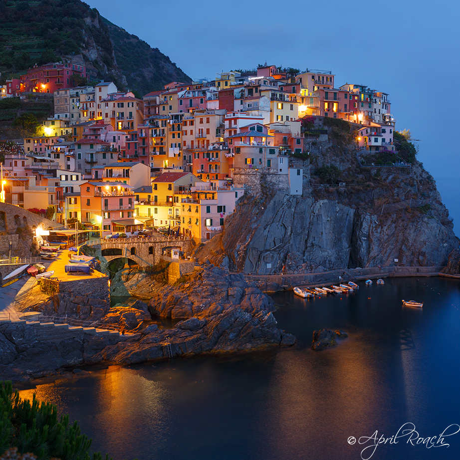 Manarola twinkling at twilight